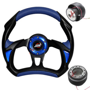 Fit Vw 320mm Blue Pvc Racing Steering Wheel Horn Black Lug Battle hub Adaptor