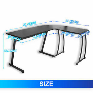 Modern L Shaped Corner Desk Laptop Study Writing Table Workstation Desk Home
