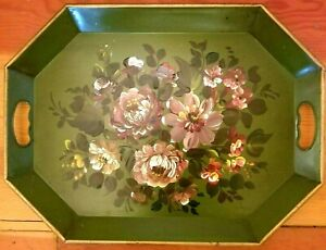 Toleware Tray Vintage Green Floral Design Metalware Platter Great Colors