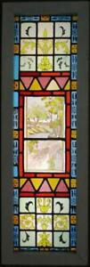 Victorian English Leaded Stained Glass Window Hand Painted Scene 13 75 X 42