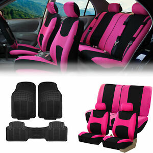 Pink Black Car Seat Covers Full Set For Auto W 2 Headrests Rubber Floor Mats