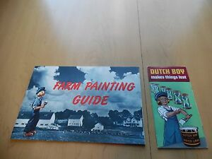 Vtg 1943 Dutch Boy Paints Farm Painting Guide Tractor House Barn Sample Old Tool
