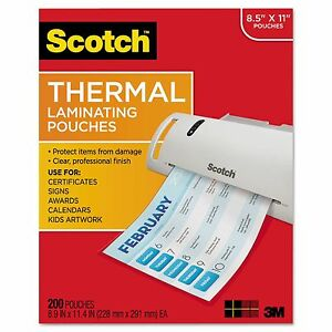 Scotch Thermal Laminating Pouches Letter 200 Pack