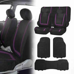 Black Purple Seat Covers Set For Car Suv Auto With Black Heavy Duty Floor Mats