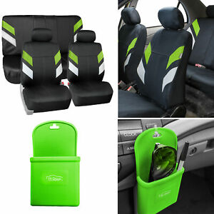 Neoprene Car Seat Covers For Auto Car Green W Silicone Phone Holder