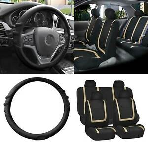 Cloth Seat Covers Full Set Beige W black Silicone Steering Wheel Cover