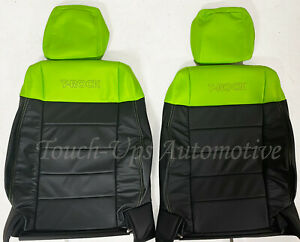 2011 2012 Jeep Wrangler Katzkin Leather Seat Covers Kit Black Green 4 Door