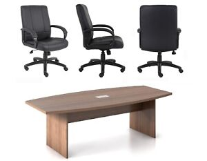 8 Ft Foot Conference Table And 6 Chairs Set 8 Colors Espresso Walnut Gray More
