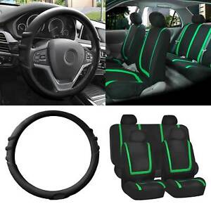 Cloth Seat Covers Full Set Green W black Silicone Steering Wheel Cover