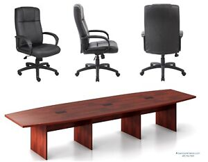 14 Ft Foot Conference Table And 12 Chairs Set 8 Colors White Gray Espresso More