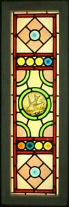 Victorian English Lead Stained Glass Window Hp Bird Bullseyes 12 75 X 38 75