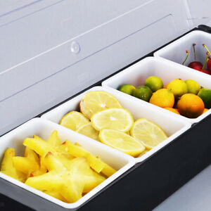 Bar Condiment Dispenser Caddy 4 Compartments Server Tray Chilled Food Fruit