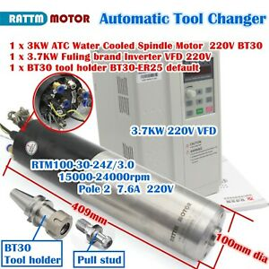Cnc Bt30 3kw Atc Automatic Tool Change Water Spindle Motor 3 7kw Inverter 220v