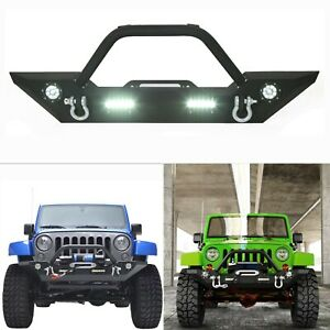 Black Front Bumper With Built in Led Lights For Jeep Wrangler 07 18 Jk Unlimited