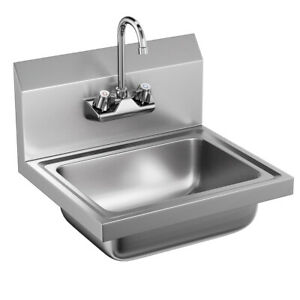 Stainless Steel Wall Mount Hand Washing Sink Basin Commercial Durable W faucet