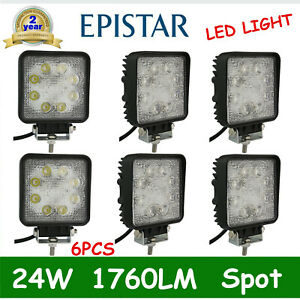 6x 24w Square Led Work Light Spot Beam Offroad Boat Cars Tractor Truck Suv Lamp