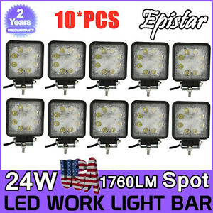 10x 24w Led Work Light Fog Lamp Boat Offroad Tractor Spot Lights 12v 24v Square