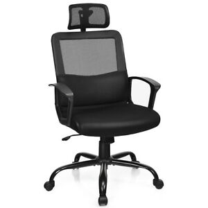 Mesh Office Chair High Back Ergonomic Swivel Chair W Lumbar Support