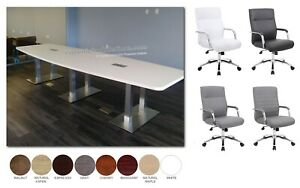 Modern 14 Ft Conference Table Has Metal Legs And 12 Mid Back Chairs Set 8 Colors