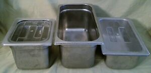 3 Stainless Steam Table Hotel Buffet Pans W 2 Plastic Lids Libertyware
