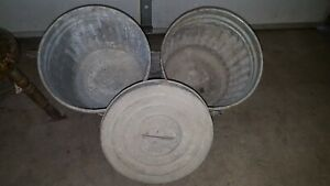 Vintage Reeves 5 Gallon Us Ash Pails Lid Galvanized Can Bucket Lot Rare