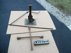 Vtg Auto Jack W handle 4 way Flat Tire Spoon Endesrto Socket Tool Kit Ford Chevy