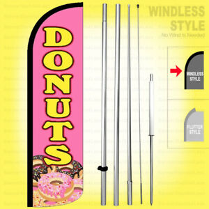 Donuts Windless Swooper Flag Kit 15 Tall Feather Banner Sign Pz h