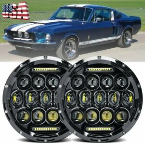 2x Dot Led Diamond Projector 7 Inch Round Headlights For Ford Mustang 1965 1978
