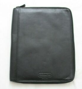 Coach Black Leather Zip Around Business Portfolio Organizer Pad Folder Euc