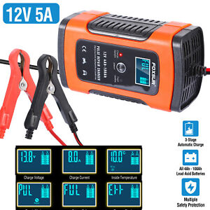 Automatic Intelligent Car Battery Charger 12v 5a Pulse Repair Starter Agm gel