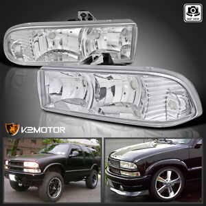 For 1998 2004 Chevy Blazer S10 Pickup Clear Headlights Head Lamp Pair Left Right