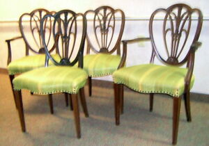 Antique 4 Dining Room Chairs In Classic Sheraton Hepplewhite Style 2 Arm 2 Side