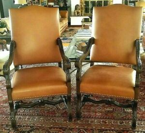 Pair Leather Arm Chairs Bergere Library Captains Chairs Ralph Lauren Polo Look