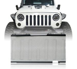 Front Mesh Grille Inserts Screen Matte Black Iron For 07 15 Jeep Wrangler Jk