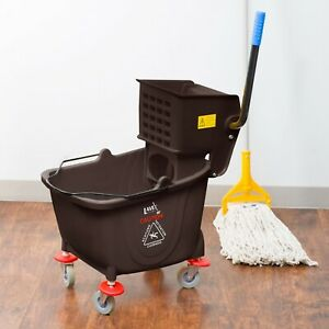 35 Qt Brown Janitorial Rolling Mop Bucket Side Press Wringer Combo