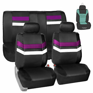 Pu Leather Seat Covers Universal Full Set For Car Suv Van Auto Purple W Gift