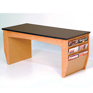 Coffee Table With Magazine Pockets W black Granite Look Top