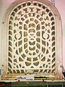Vintage Antique Cast Iron Arch Floral Heat Grate Wall Register