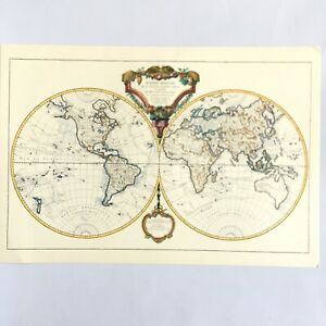 World Map Mappe Monde Etching Engraving Of 1786 Didier Robert De Vaugondy