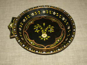Large Vintage Wooden Bowl Hand Painted Dough Bowl Wood Trencher Dish