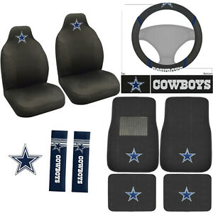 10pc Set Nfl Dallas Cowboys Car Front Rear Floor Mats Seat Covers Emblem