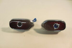 1940 40 Chevrolet Chevy Tail Lights Lamps Assemblies With Blue Dots Glass Lens