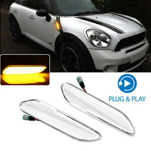 For Mini Cooper R60 R61 Amber Led Front Fender Side Marker Signal Lights Clear