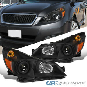For 10 14 Subaru Legacy Outback Black Projector Head Lamps Corner Signal Lights