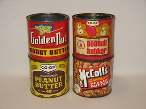 Lot of 4 Vintage Peanut Butter Tins/Cans - Golden Nut  McColl's  Co-op