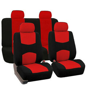 Fh Group Flat Cloth Fabric Car Seat Cover Red black Fb050114
