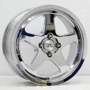 4 17 Chrome Mustang Saleen Sc Style Wheels Set 17x8 4x108 79 93 Fox Rims