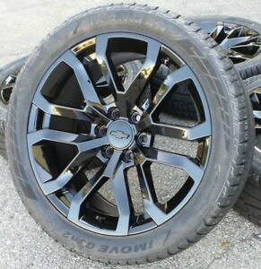 22 Chevy Silverado Black Wheels Rims Tires Tahoe Suburban Gmc Sierra 2019 2020
