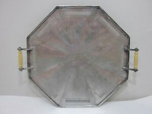 Wilcox Silver Plate Co Bakelite Handled Octagon Shaped Serving Tray 8992