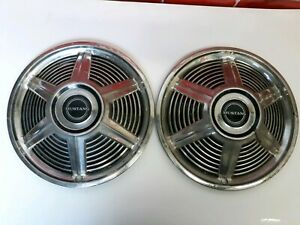 1965 Vintage Ford Mustang 14 Inch Hubcaps W blk Mustang Center Caps 2 Lot Used